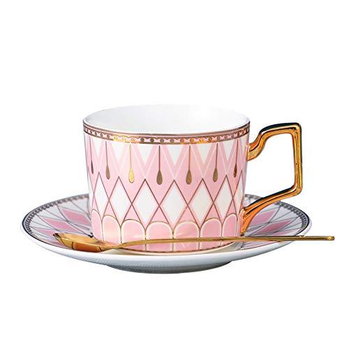 YHCS Ensemble De Tasse à Café Et Soucoupe, Tasse à Eau en Céramique Domestique, Tasse à Café/Tasse à Thé/Tasse à Lait Petit-déjeuner/Tasse à Boisson Jus, Rose, 220 ML