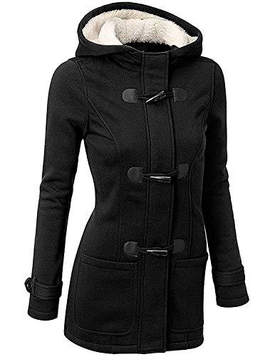 UUAISSO Mantel Damen Elegant Wintermantel Damen Warm Casual Mäntel Jacken mit Kapuze Herbst Winter, Schwarz M
