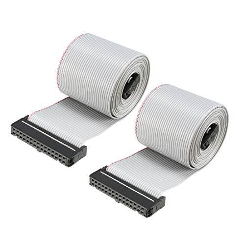 sourcing map IDC 30 Pins Cable Plano Flexible Cable Puente De Cinta Gris 128cm 2.54mm Pitch,2pcs