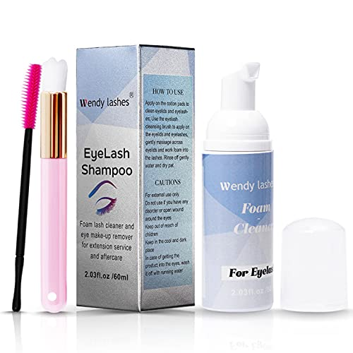 Shampoo per Ciglia per Extension Ciglia, Detergente Delicato per La rimozione di Residui di Trucco con olio, con Pennello Morbido (60 ml)