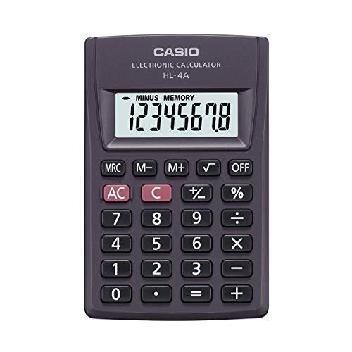 Casio Taschenrechner HL-4A, 8-stellig, mit +/- Vorzeichenwechsel, Quadratwurzel