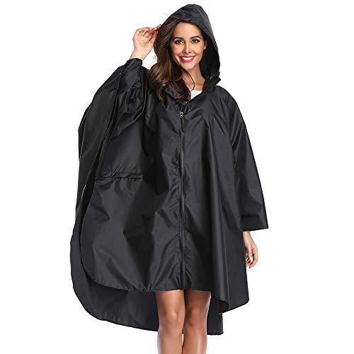 Summer Mae Regen Poncho Jacke Mantel für Erwachsene mit Kapuze wasserdicht mit Reißverschluss im Freien,Einheitsgröße,Schwarz