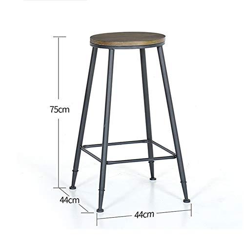 Moderne Minimaliste en fer forgé haute vin Tabouret ronde en bois massif Salon Surface Bar vent Chaire industrielle/spécification 44x44x105cm (Color : D)