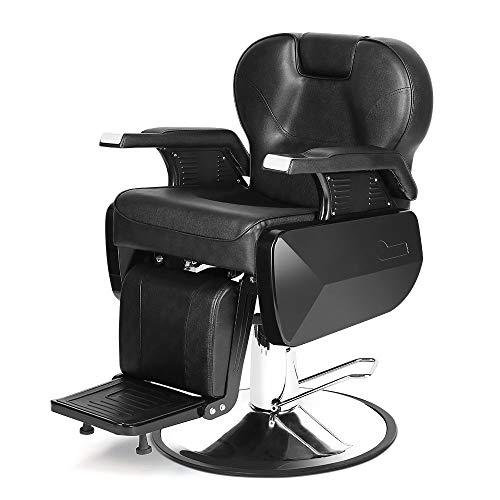 Barber Chair, Heavy Duty Hydraulic Reclining Barber Hair Cutting Chairs Salon Chair for Hair Stylists Barbershop Salon Equipment Black