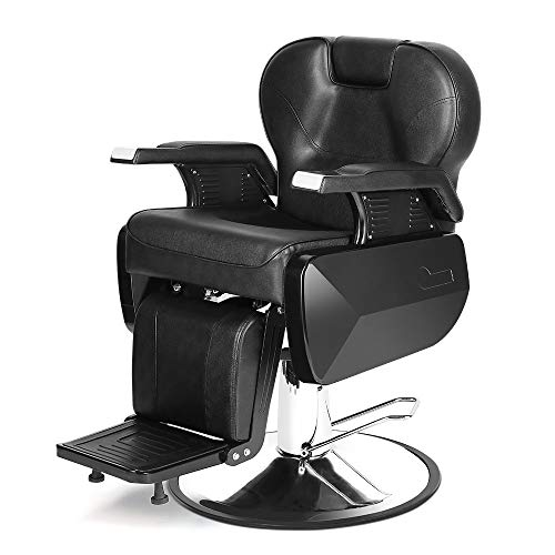 Barber Chair, Heavy Duty Hydraulic Reclining Barber Hair Cutting Chairs Salon Chair for Hair Stylists Barbershop Salon Equipment Black