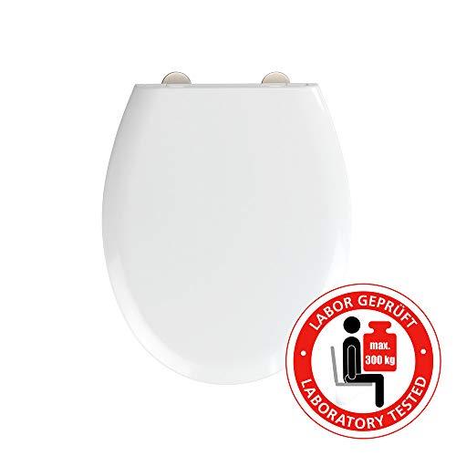 WENKO WC-Sitz Rieti, hygienischer Toilettensitz mit Absenkautomatik, stabiler WC-Deckel bis 300 kg belastbar, mit Fix-Clip Befestigung, aus antibakteriellem Duroplast, Weiß