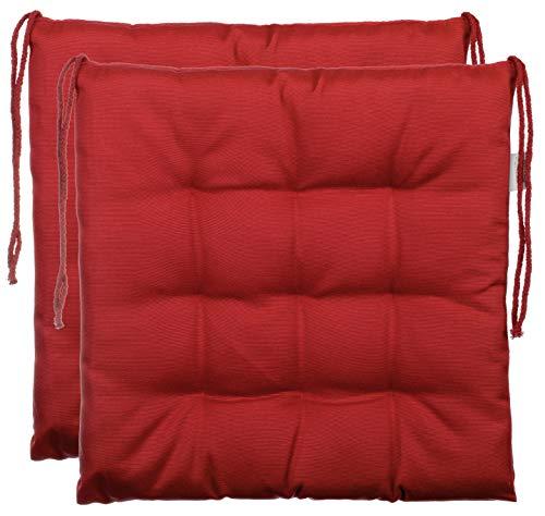 BrandssellerCojín decorativo de asiento para silla de jardín, 9 pespuntes, varios diseños, poliéster, rojo, 2er-Paket