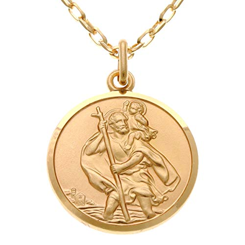 Mens Solid 9ct Gold St Christopher Pendant Necklace with 20' chain and Jewellery Gift Box