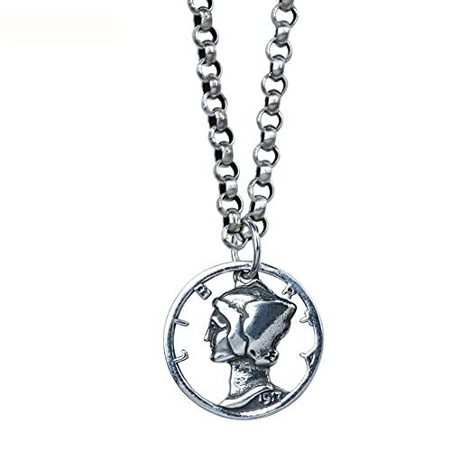 AMOZ Collar con Colgante de Moneda Tallada para Mujeres, Niñas, Hombres, Plata de Ley 925, Adoración de la Diosa, Medalla de Celebridades, Recuerdo Reversible, Elegante, Estrangulador,Solo Colgante