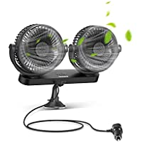 Tsumbay 12V/24V Dual Head Electric Car Cooling Fan