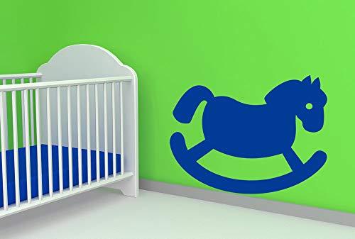Calcomanía de pared de caballo mecedora de vinilo vinilo para habitación infantil decoración de dormitorio 73,7 x 58,4 cm