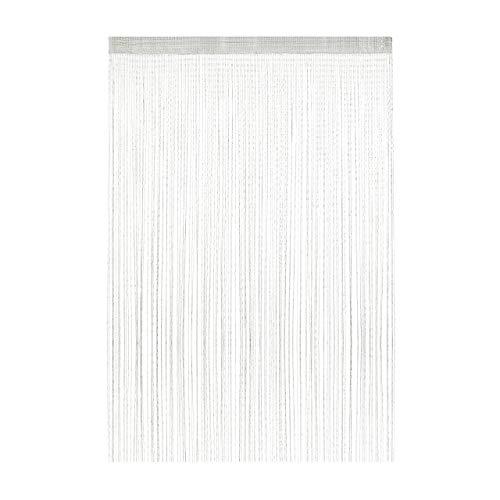 Relaxdays Fadenvorhang Glitzer, 145 x 245 cm, kürzbar, Tunneldurchzug, für Türen & Fenster, waschbar, Fadengardine, weiß