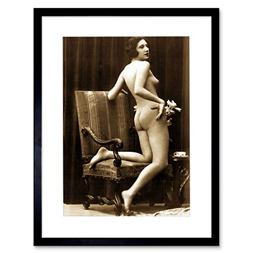 Wee Blue Coo LTD Victorian Erotic Vintage Sepia Nude Risque Erotica Art Framed Art Print Picture & Mount F12X1588
