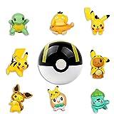 HONGECB Pokemon Mini Figuras, Pokemon Decoración Tarta De Cumpleaños, Pokebolas con Pikachu, Cake Topper, para Fiestas De Cumpleaños, Bodas, Baby Shower, Decoración del Hogar, 8+1 Piezas