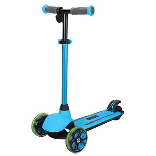 Rugged Racers Kid's Electric 3-Wheel Kick Scooter, Battery Powered Motor with Dual Brake System for Ages 6+ Blue