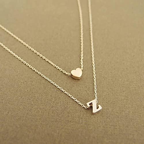 CXWK Moda para Mujer, Simple, 26 Letras, Colgante, Collar, Personalidad, pequeño corazón, Collar Inicial, joyería de Regalo