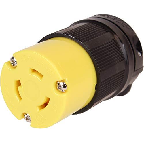 Journeyman-Pro 2313 20 Amp, 125 Volt, NEMA L5-20R, 2P, 3W, Locking Female Plug Connector, Black Industrial Grade, Grounding 2500 Watts Generator Rating (L5-20R Female Plug)