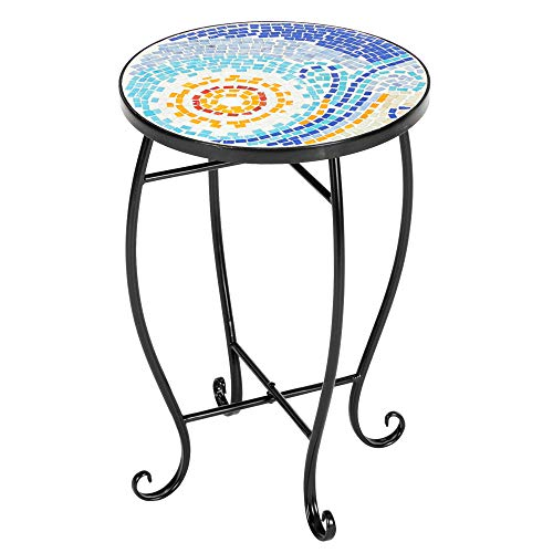 Owl's-Yard Mosaic Bistro Side Coffee Table for Garden, Outdoor Balcony End Table, Household Round Dinning Table for Living Room Courtyard Garden Furniture (1pcs table - 02)