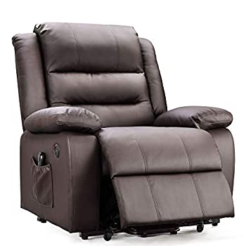 DEVAISE OKIN Dual-Motor Power Lift Recliner Chair for Elderly Living Room Sofa Chair with Remote Control + 2 USB Ports Faux Leather Upholstery Dark Brown