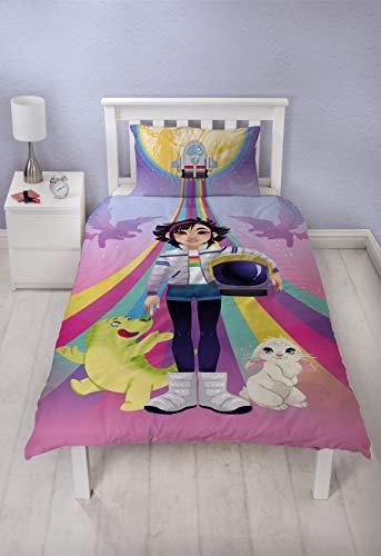 Over The Moon Netflix - Funda de edredón para cama individual con licencia oficial Fei Fei Fei reversible, diseño de dos caras con funda de almohada a juego, polialgodón, multicolor