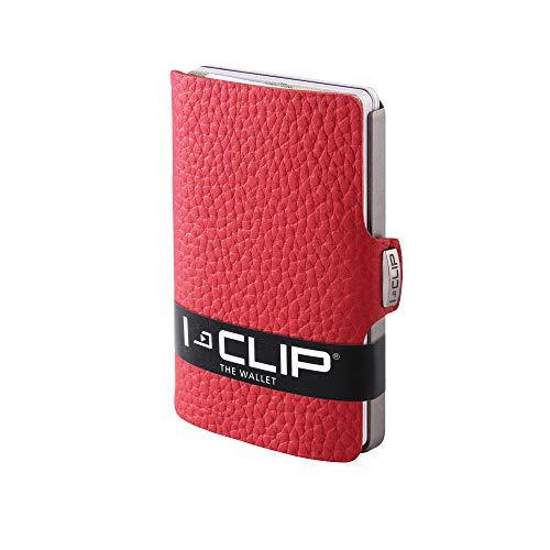 I-CLIP ® Geldbörse Rot, ultra bequem, kleiner Geldbeutel, am flexibelsten mit 1-12 Karten, ohne Münzfach, echt (Sattler-) Leder, Geldklammer, Slim Wallet, Mann, klares, übersichtliches Mini Format (in mehr als 45 Designs auf unserem Brandstore)