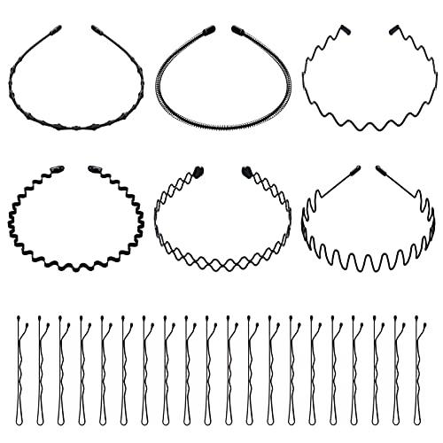 6 Stück Unisex Metall Haarband, Metall Haarreifen Welle Haarband mit 20 Stück Haarnadeln für Männer Frauen (Schwarz)