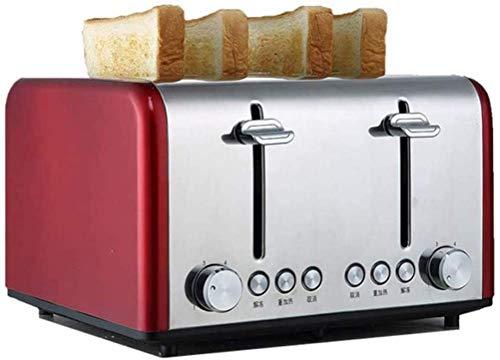 YXZQ Brotbackautomat Brotbackautomat Heim Toaster Edelstahl Aufklappbare Miga-Schale (Farbe: gelb), Rot