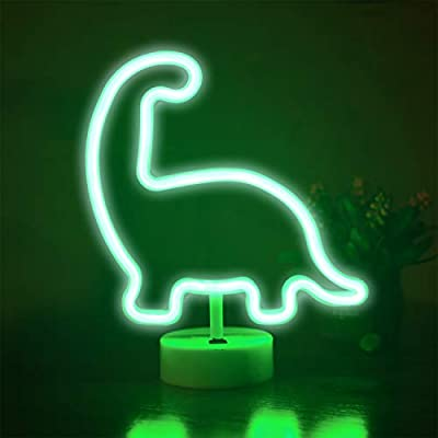 Funpeny LED Neon Decorative Light, Neon Sign Dinosaur Shaped Decor Light, USB Charging & Battery Indoor Decor for Living Room, Birthday Party, Wedding Party