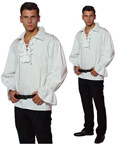 Maylynn 13711-L - Camisa de Pirata Medieval con Volantes de algodón, Talla L, Blanca