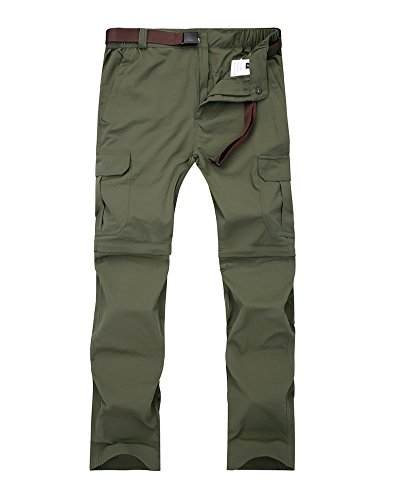 Women's Outdoor Quick Dry Convertible Lightweight Hiking Fishing Zip Off Cargo Pant #1088F,Army Green,US M(31-32)