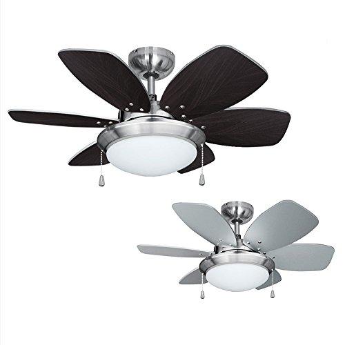 MiniSun - Moderno Ventilador de Techo con Luz LED/ 76cm - Silencioso con 6 Aspas Reversibles en Plata y Madera - Interruptor de Cuerda - Motor DC Inverso y 3 Velocidades