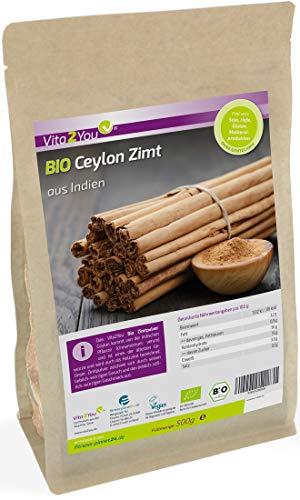 Bio Ceylon Zimt Pulver 500g im Zippbeutel - Ökologischer Anbau - Glutenfrei - Zimt gemahlen -...