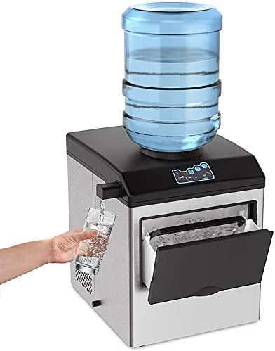 SOUKOO 2 in 1 Water Ice Maker 48lbs Daily Ice Cube Makers Stainless Steel Ice Makers Countertop product image