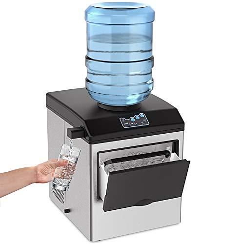 SOUKOO 2 en 1 máquina de hielo de agua, 48 libras diarias cubitos de hielo, encimera de acero inoxidable, máquina de máquina de hielo de mesa con una cuchara y una cesta de almacenamiento de 4.5 libras...