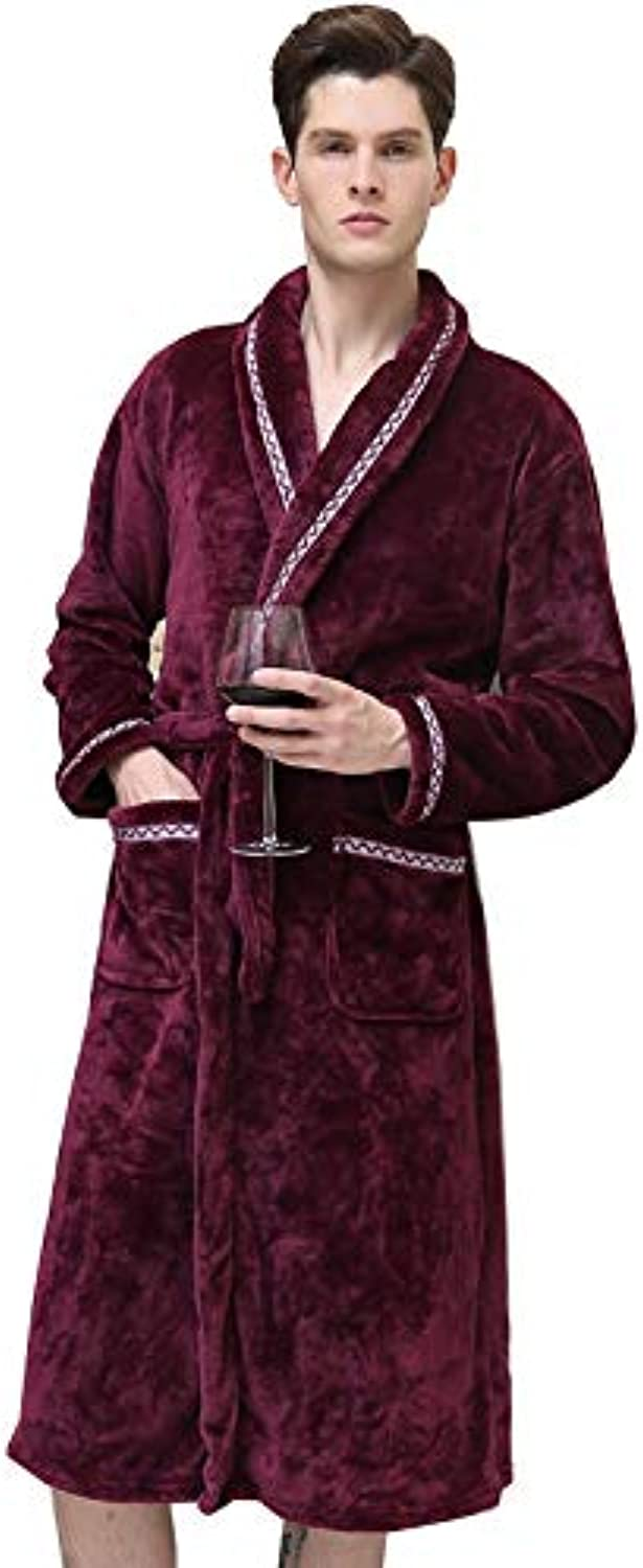 Pajamas Home Service Thick Flannel LongSleeved Bathrobe Couple Pajamas Men and Women Autumn and Winter Classics can wear Gowns (color   Jujube Red, Size   XL)