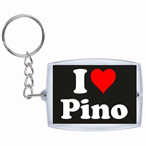 Druckerlebnis24 Schlüsselanhänger I Love Pino in Schwarz - Exclusiver Geschenktipp zu Weihnachten Jahrestag Geburtstag Lieblingsmensch
