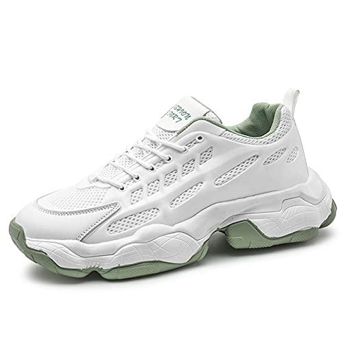 Entrenadores Hombres Zapatillas de Deporte, Zapatos Deportivos de Tenis de Moda al Aire Libre Zapatos de Deportes de Malla Transpirable Casual Zapatos atléticos,Blanco,43
