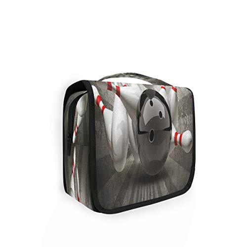 Kulturtasche zum Aufhängen Vintage Sport Bowling Ball Organizer Kulturbeutel Kosmetiktasche Reisetasche mit 4 Fächern für Frauen