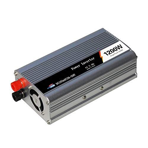 Power Inverter 600W DC 12V tot AC 230V 240V Auto Converter met universele aansluiting en USB-poort voor Laptop Smartphone-piekvermogen 1200W,24V