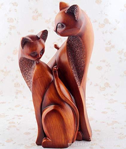 BHUIJN Sculptures d'animaux Statues pour Jardin Résine Bois Grain Chat Couple Décoration...