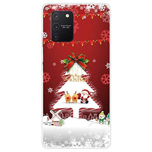MUTOUREN - Custodia per Samsung Galaxy S10 lite/Galaxy A91/M80S, serie natalizia, in morbido silicone TPU, ultra sottile, antigraffio, con protezione schermo, albero di Natale
