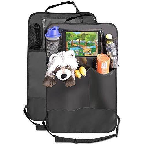 Organizador de asiento trasero (2) con grandes bolsillos y soporte para iPad tablet, estera de cobertura para bebé, protector de tapicería del asiento del coche impermeable para , ajuste universal