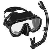 Flyboo Máscara y Snorkel,Set de Esnórquel Gafas de Buceo Panorámicas Antivaho de Vidrio Templado, Equipo de Esnórquel Antifugas y Tubo Seco para Adultos y Jóvenes.