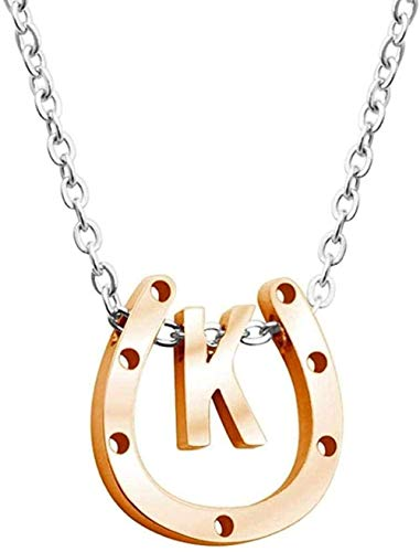 NC83 Retro Men s Wen s Classic Design Easy to Combine Simple Personality Rose Gold Horseshoe Letter Pendant Necklace