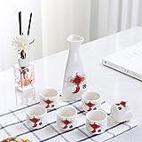 IKJN Juego De Sake Japones Juego De Copas De Vino Tradicionales Utensilios De Vino De Cerámica para El Hogar Olla De Sake Nudo Chino De Estilo Antiguo