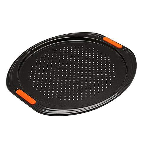 Le Creuset Antihaft Pizza-Backblech, Ø 33 cm, Belüftungslöcher, PFOA-frei, Sauerteigbeständig, Aus Karbonstahl gefertigt, Anthrazit/Orange