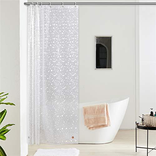 Furlinic Duschvorhang Anti-schimmel Wasserdicht Transparent Badvorhang aus Eva 120x180cm 3D Effekt Kieselstein mit 8 Duschvorhangringen Saum mit Steinen.