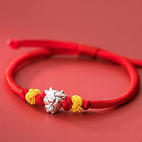 Pulsera Feng Shui Bead Lucky Charm Bracelet 2021 Año del OXT S925 SWUDY Lucky Ox Piña Nudo ROPO RED Cuerda trenzada Pulsera Zodiacal Pulsera Ajustable Amuleto Atraer Riqueza Pulsera de abalorios de am