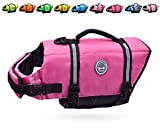 Vivaglory Ripstop Dog Life Jacket, Reflective & Adjustable Preserver Vest with Enhanced Buoyancy & Rescue Handle, Pink, S