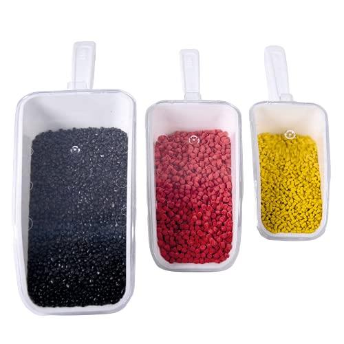 ISOLAB - (paquete de 3) grandes palas medidoras, dosificadoras, autónomas con tapa, (150 ml, 250 ml, 500 ml), palas de plástico para hornear, alimentos para mascotas, laboratorio, ropa.